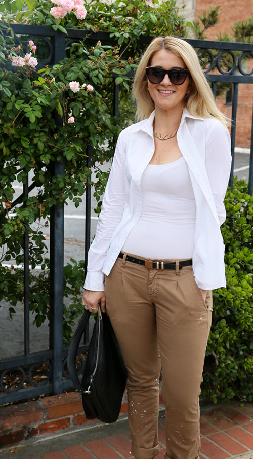 Khaki Pants Outfit with White Shirt for Women. A perfect outfit for work in the summer. White button down shirt with khakis. Fun splattered pants. #fashionblog #fashion #ootd #ootdshare #outfitideas #summerfashion #womensfashion