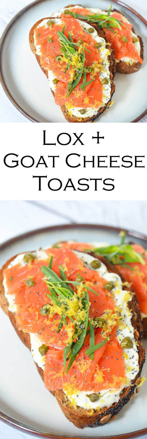 Smoked Salmon Tartine - Lox and Goat Cheese Toasts. Whip up this easy smoked salmon tartine for breakfast, lunch, or dinner. Good lox layered over goat cheese on delicious bread! #breakfast #brunch #salmon #tartine #toasts #recipe #foodblog #homemade #foodblogger #lmrecipes