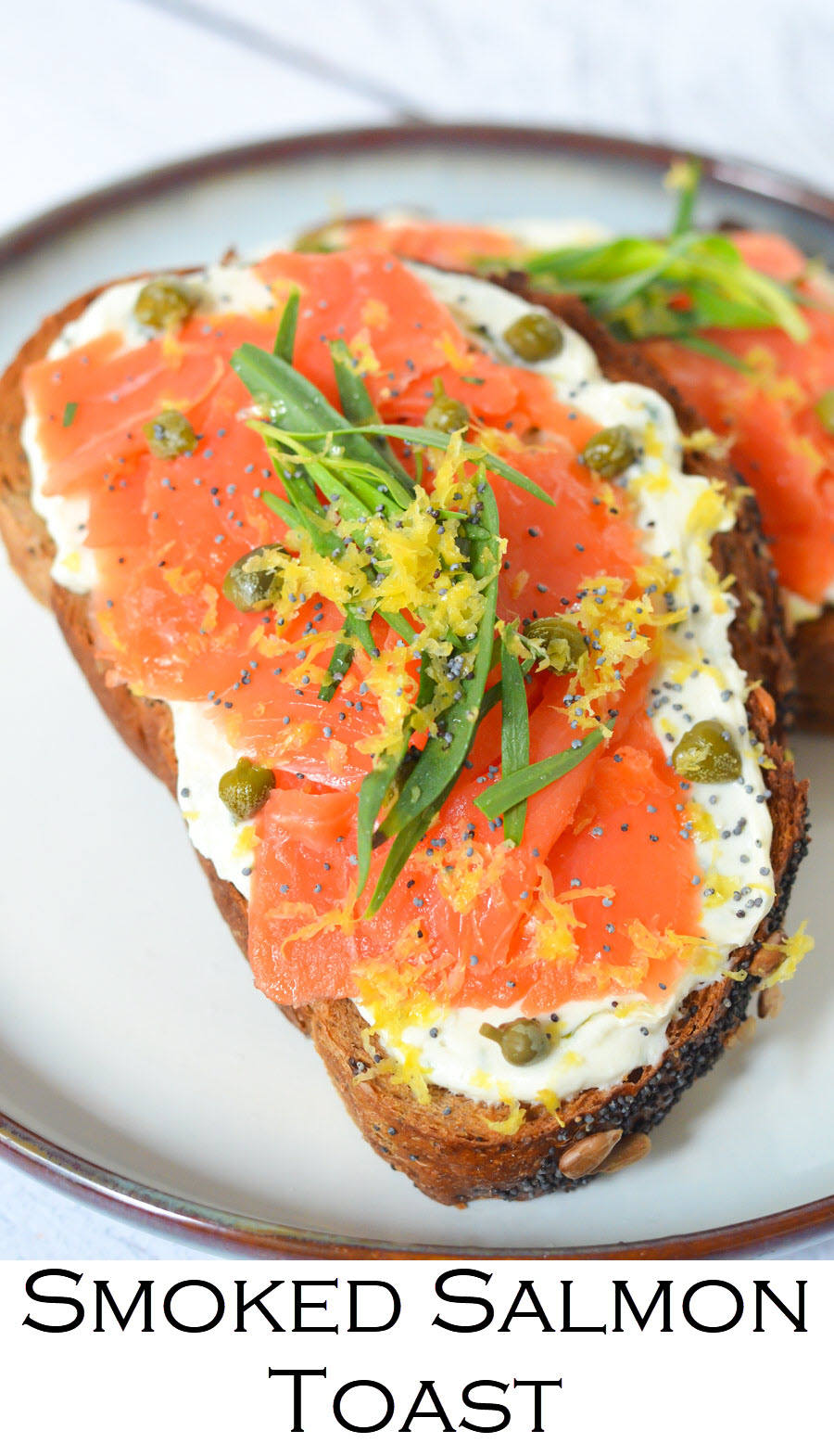 Smoked Salmon Toast - Lox and Goat Cheese Tartine. Whip up this easy smoked salmon tartine for breakfast, lunch, or dinner. Good lox layered over goat cheese on delicious bread! #breakfast #brunch #salmon #tartine #toasts #recipe #foodblog #homemade #foodblogger #lmrecipes