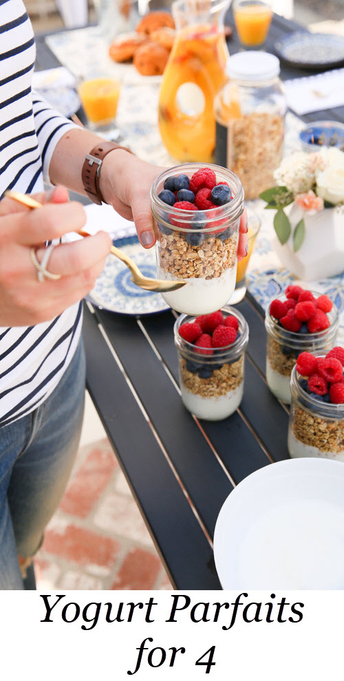 Yogurt Parfaits for 4. Easy Breakfast/Brunch for 4 w. Yogurt Parfaits, pastries, and brunch sangria. Comes together in 20 minutes. Shopping List included. #breakfast #brunch #yogurt #entertaining #parfait #recipe #easyrecipe #foodblog #lmrecipes #healthy