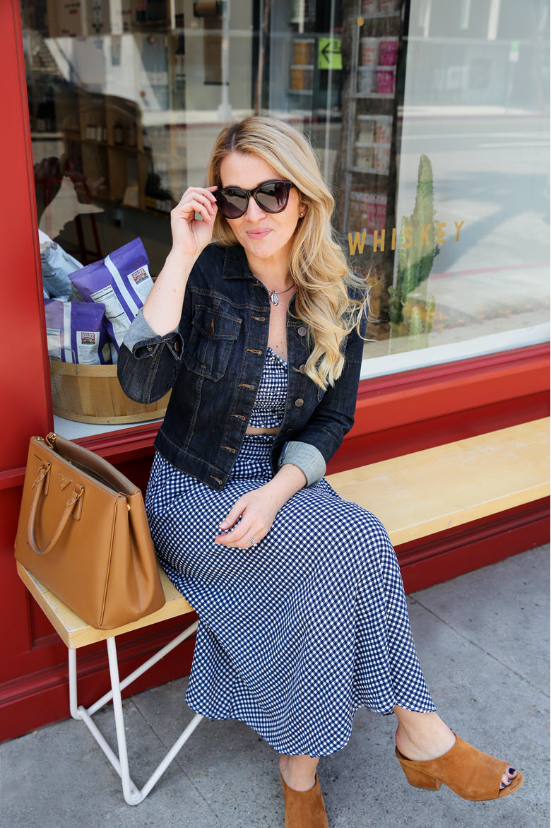 Navy Blue Gingham Dress | Matching Coordinates Trend