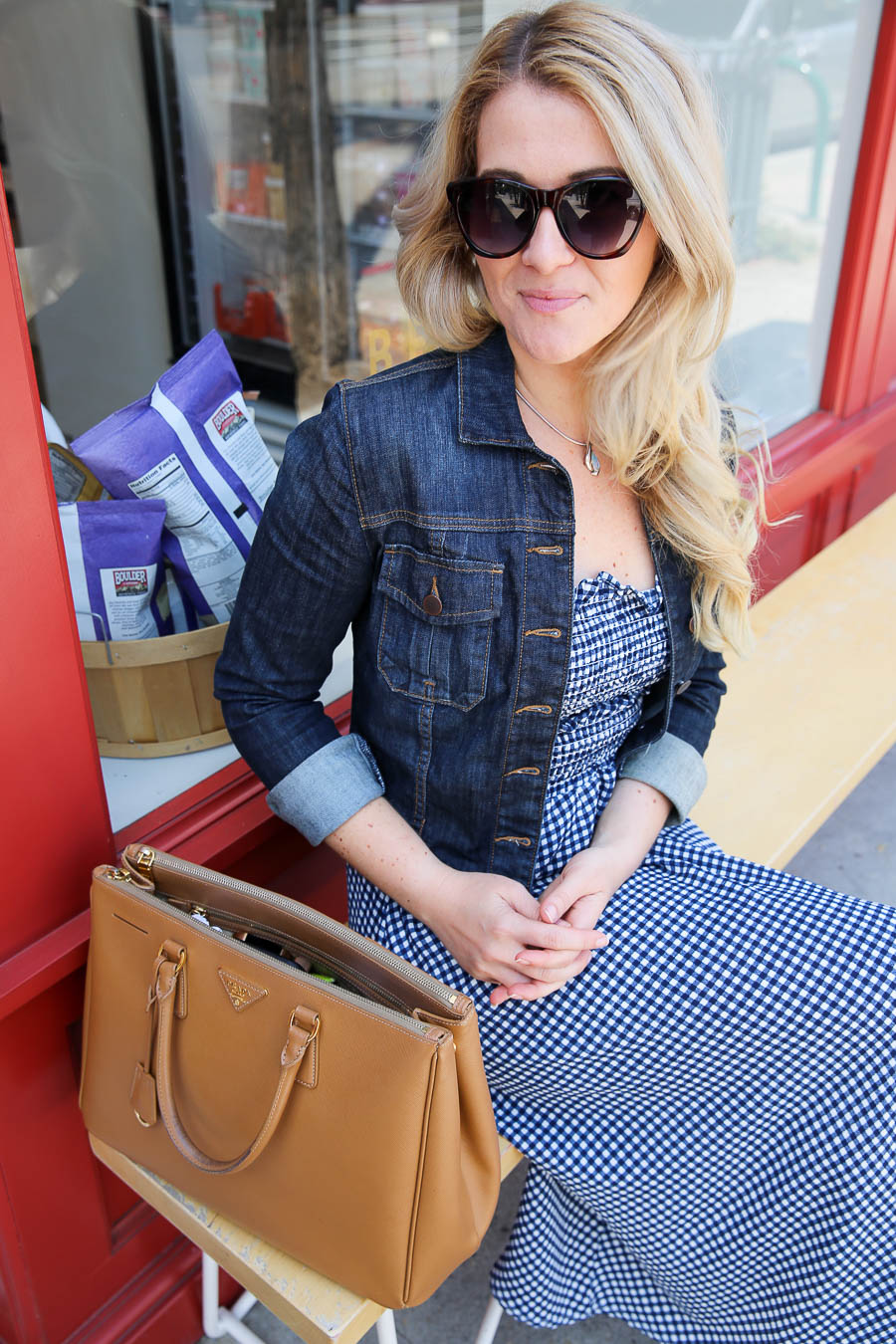 Navy Blue Gingham Dress Outfit - Matching Coordinates Trend