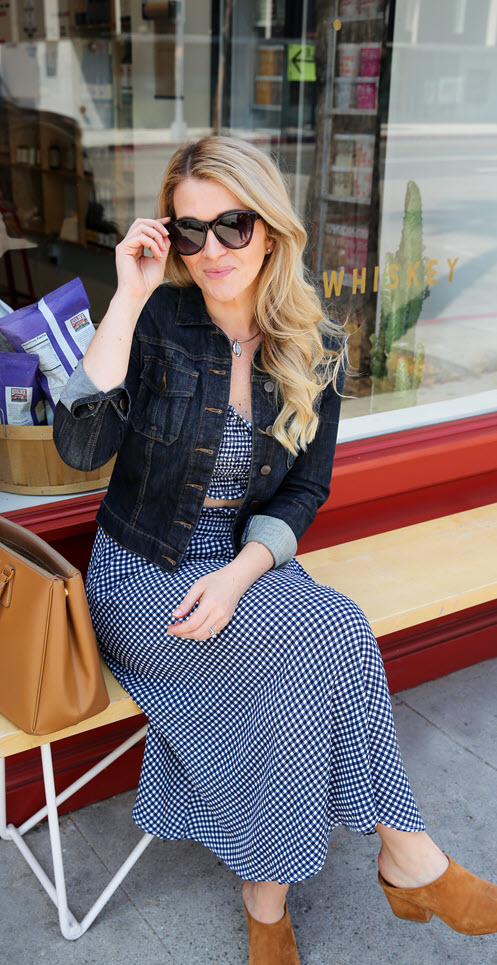 Navy Blue Gingham Dress Outfit - Matching Coordinates Trend. This 2 piece skirt and bandeau outfit is a cute summer outfit idea. #fashionblog #fashionblogger #ootdshare #summerstyle #summerfashion #ootdshare #fbloggers #gingham