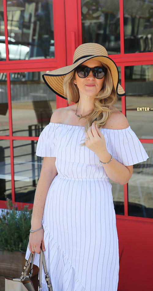 Off the Shoulder Dress Accessories + Outfit Ideas. This easy summer outfit idea for women over 30 is perfect. One easy dress and hat combine for a quintessential summer vibe. Available at Nordstrom, you'll love this ensemble. #fashionblog #fashion #summerstyle #summerfashion #outfitideas #outfitshare #dresses #ootdshare