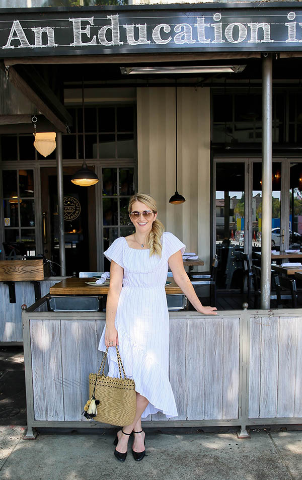 A Casual Midi Dress Outfit easily dressed up to a Classy Midi Skit Outfit with ankle strap heels and a high quality straw bag. This summer outfit idea is great for all women. Striped dresses are always a good idea! #fashionblog #fashionblogger #ootdshare #outfitidea #dresses #summerfashion