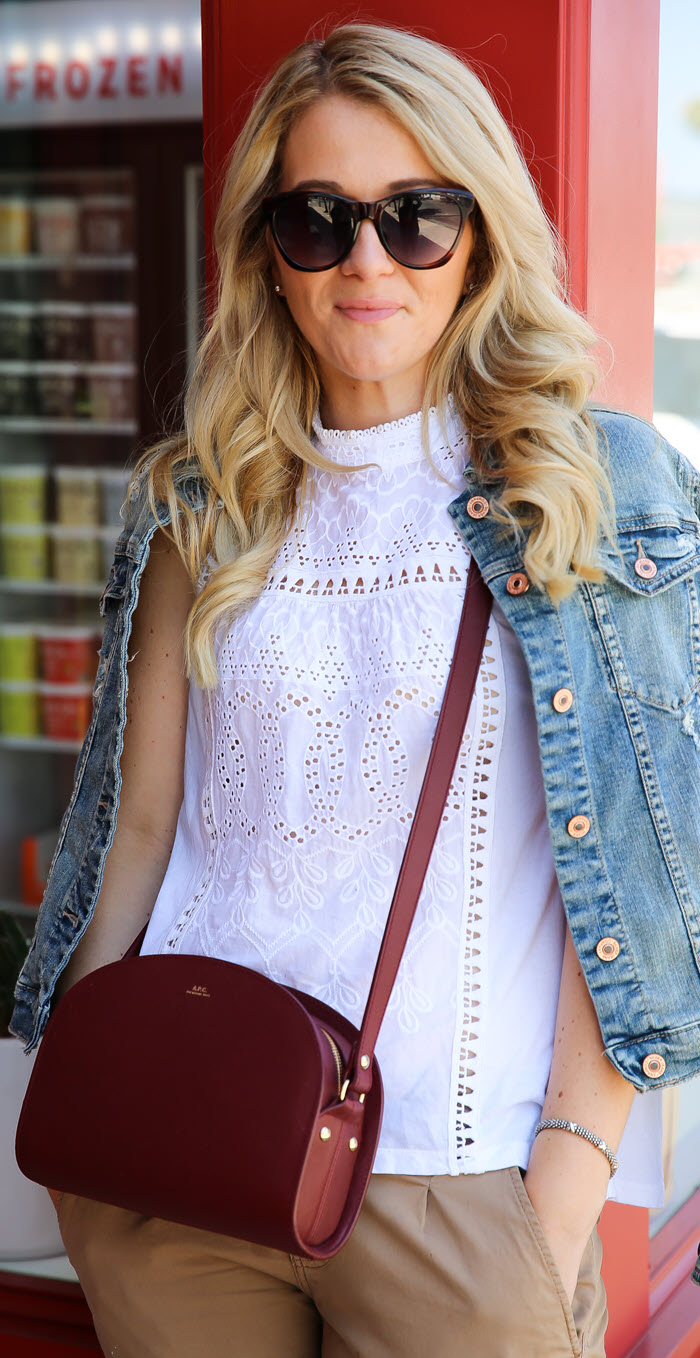 Polka Dot Pants Outfit w. Denim Jacket. This casual late summer and early fall outfit idea for women is comfortable, classic, and fun. Khaki or black pants with a jean jacket looks greats on anybody. Add an APC crossbody bag to this outfit and you're good to go!