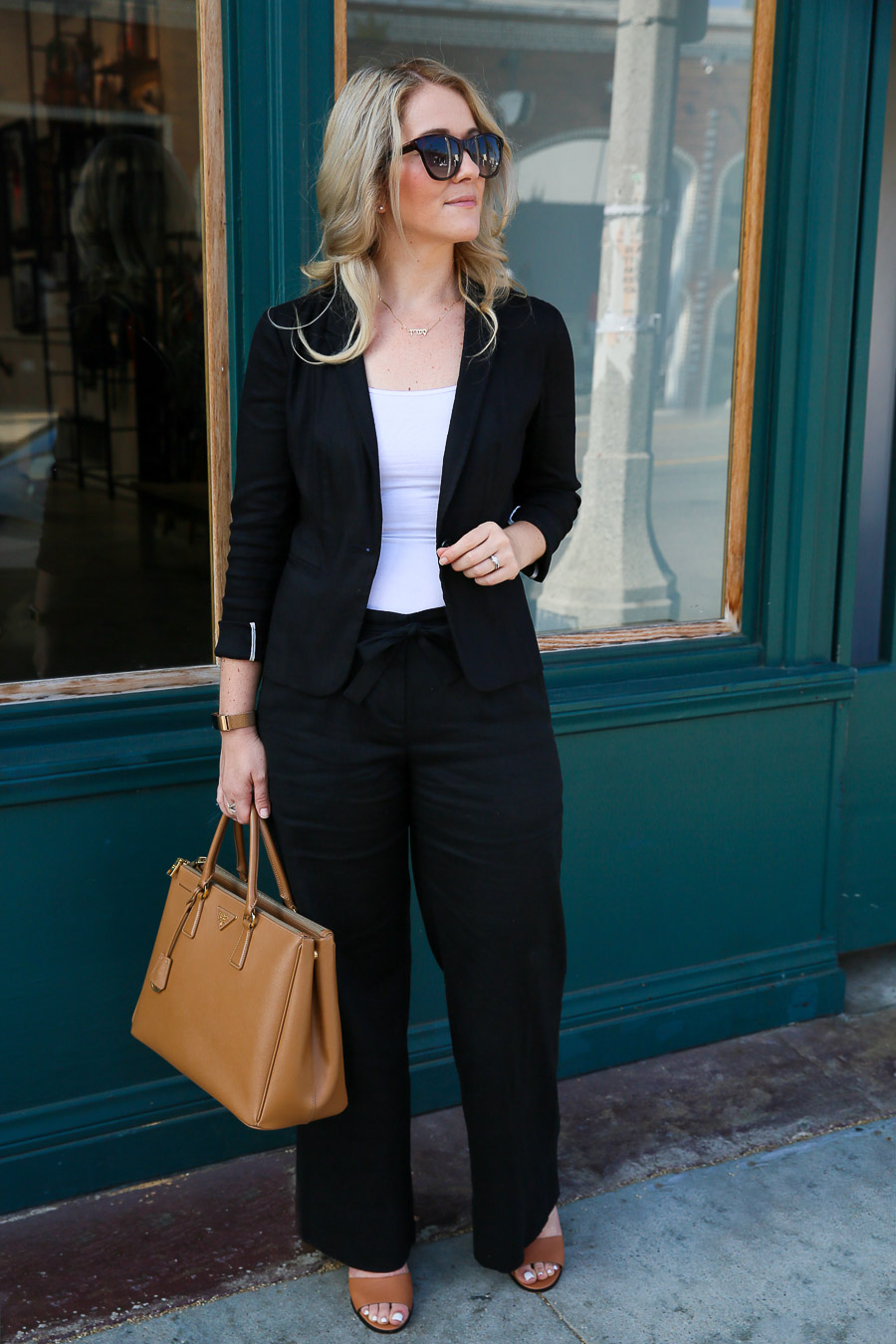 Black Wide Leg Pants Outfit for Work w. Prada Tote
