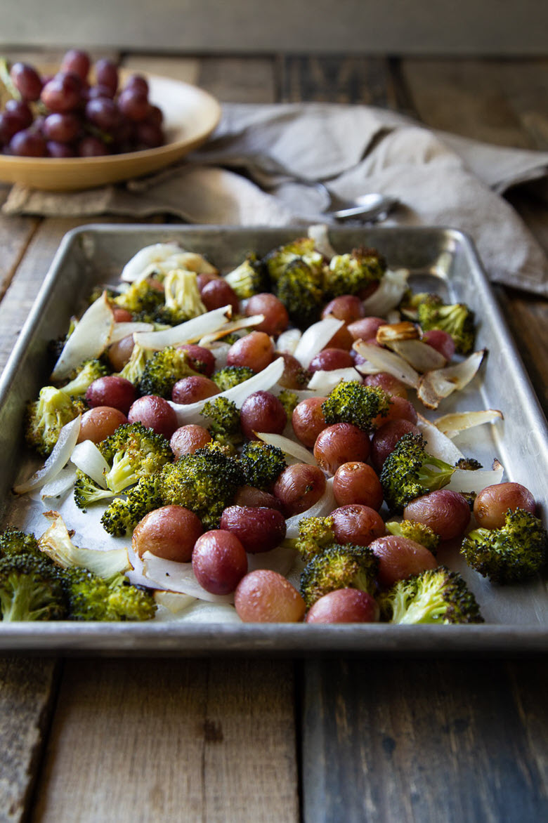 Roasted Broccoli Salad w. Grapes