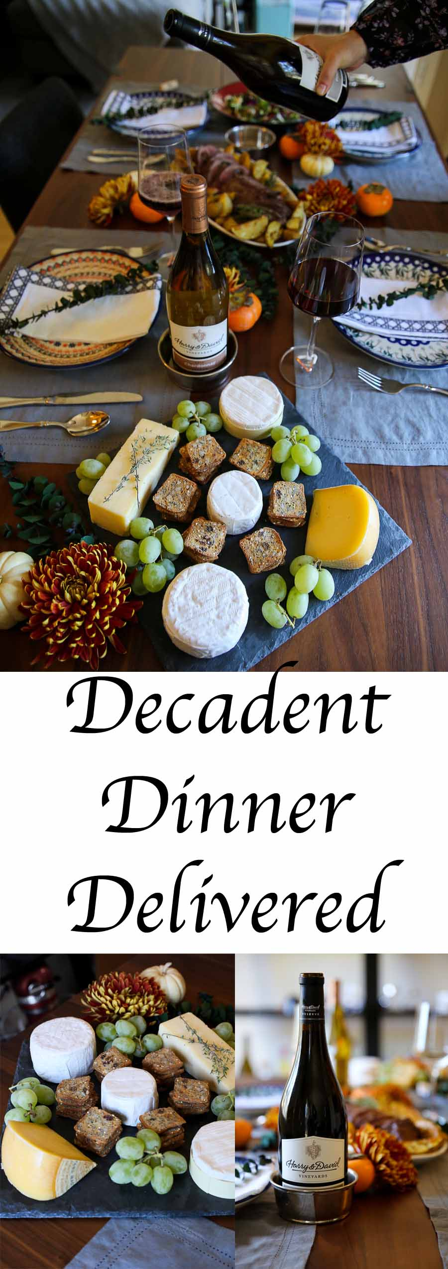 Harry & David Gourmet Dinner Delivery Review. Chateaubriand, California Cowgirl Creamery Cheese Plate, and Wine Collection. A delicious dinner for guests and to send others. #harryanddavid #chateaubriand #beed #cheese #cheeseplate #entertaining #houseguests #holidays #tablescape #falldecor #wine #entertainathome #entertain