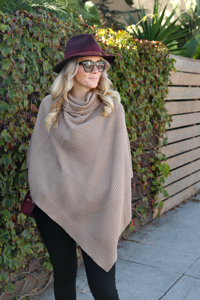 New England Poncho Sweater Outfit