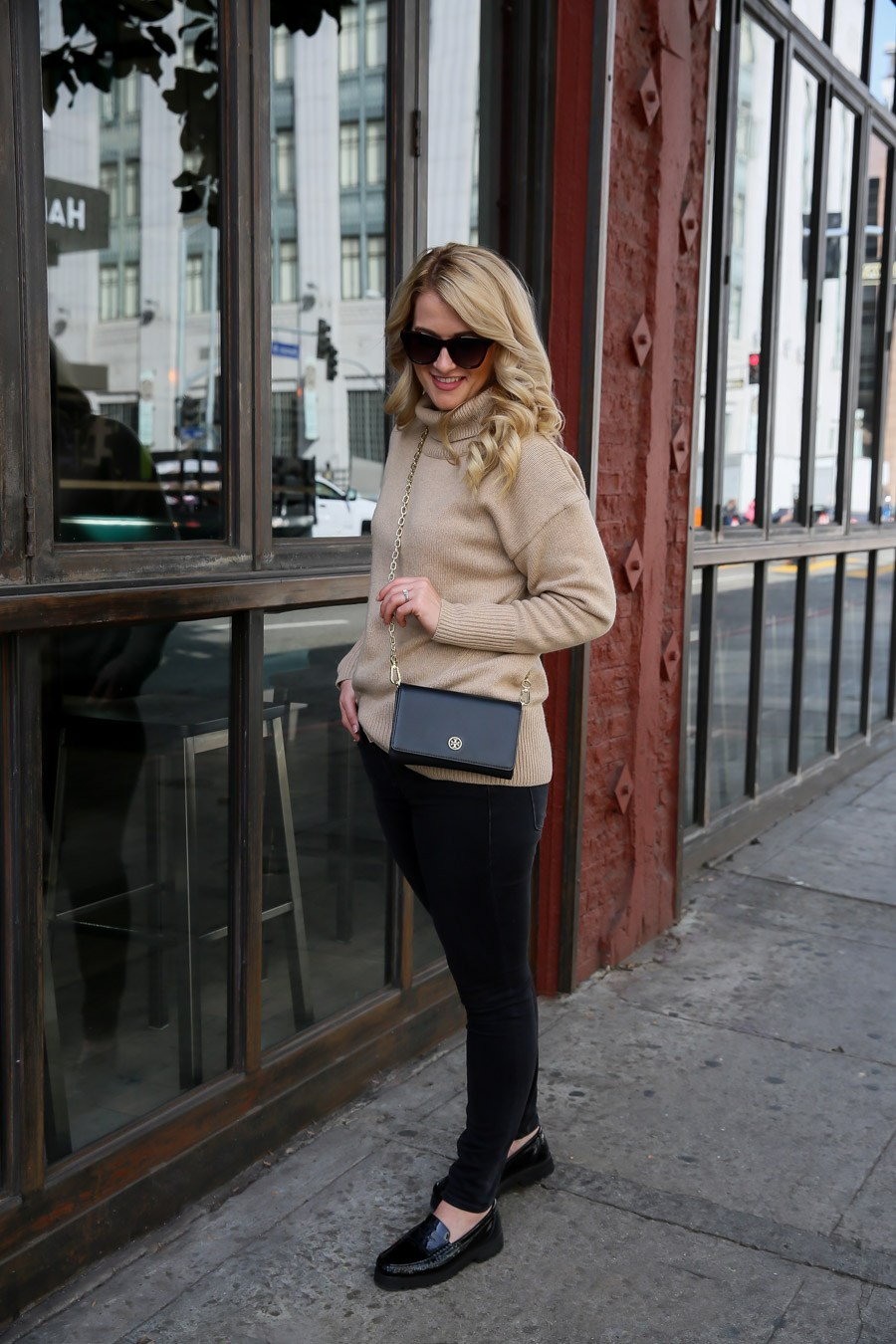 Tory Burch Clutch Outfit with Turtleneck Sweater