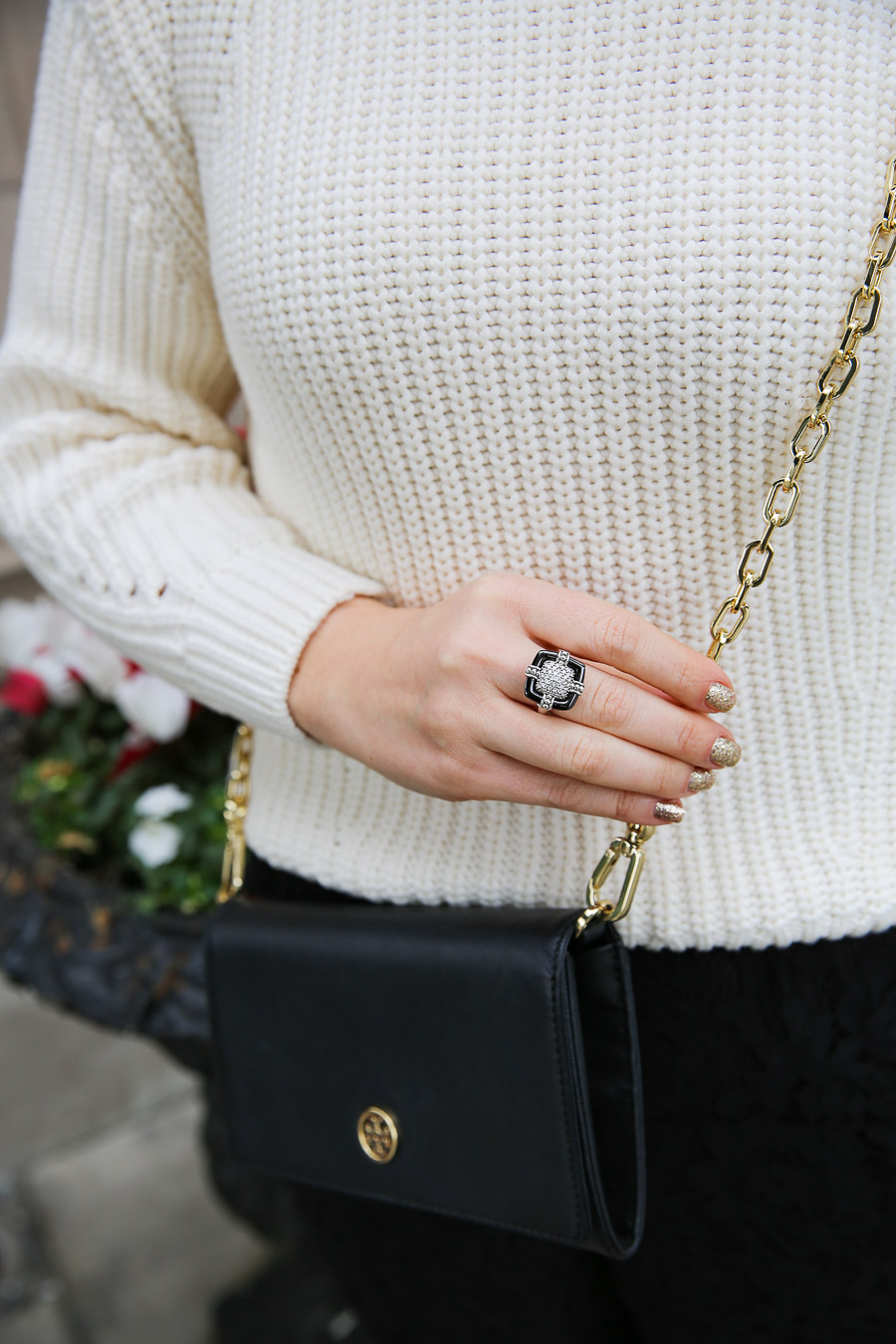 Christmas Party Attire with Pants. LAGOS Black Caviar Ring + Tory Burch Crossbody