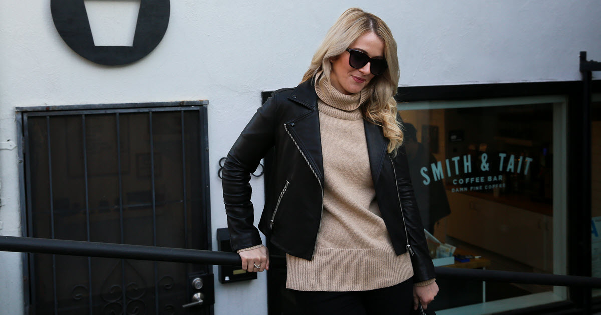 Turtleneck And Leather Jacket Outfit For Women Luci S Morsels