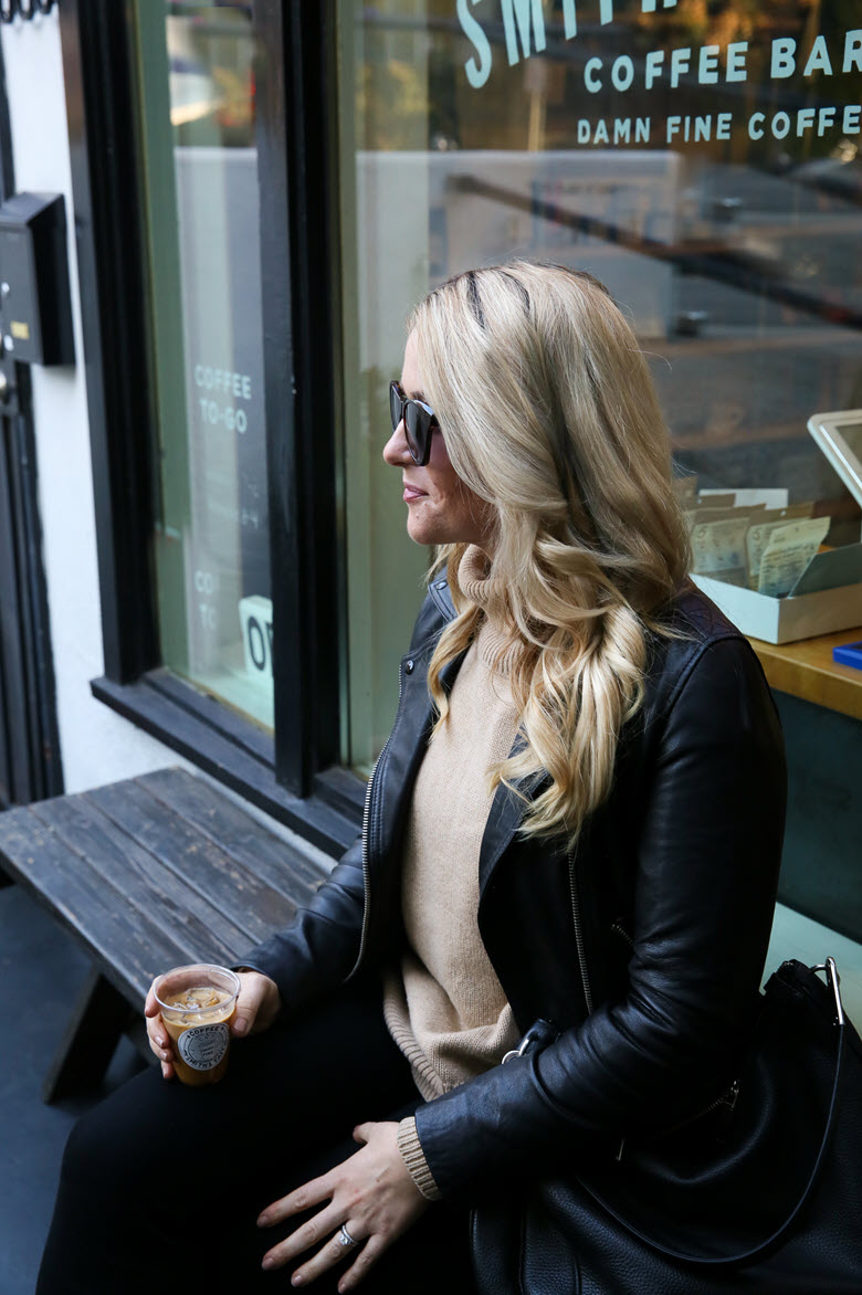 Layers for Winter | Sweater + Leather Jacket Look