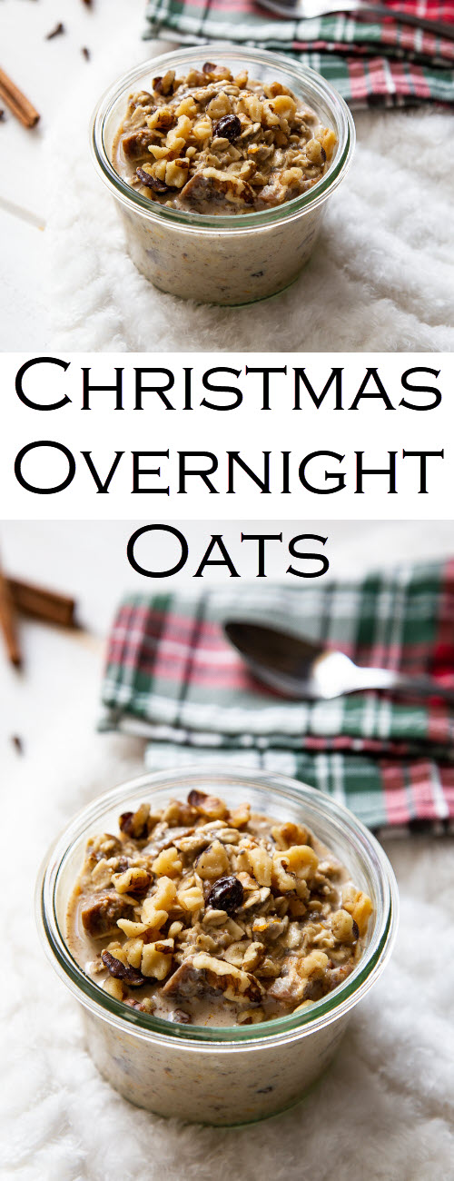 Christmas Overnight Oats with Yogurt Recipe. A delicious make ahead Christmas breakfast for a crowd.