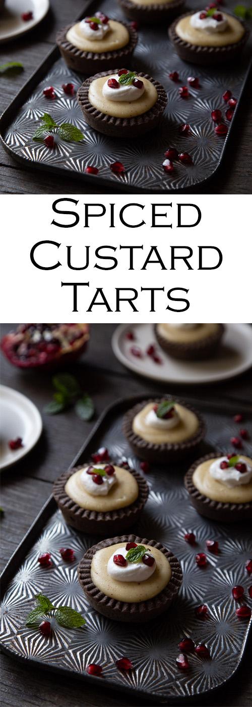 Mini Christmas Tarts with Spiced Custard and Pomegranate Seeds