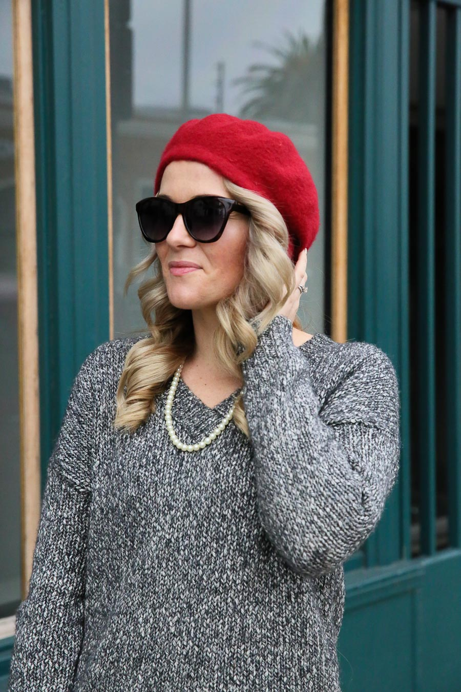 Red Pumps Outfit with Red Beret