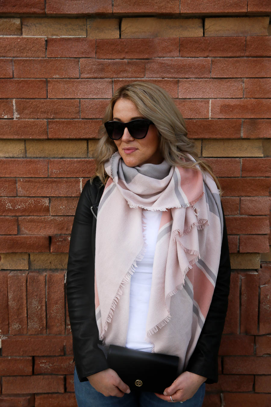Blanket Scarf + Leather Jacket Outfit