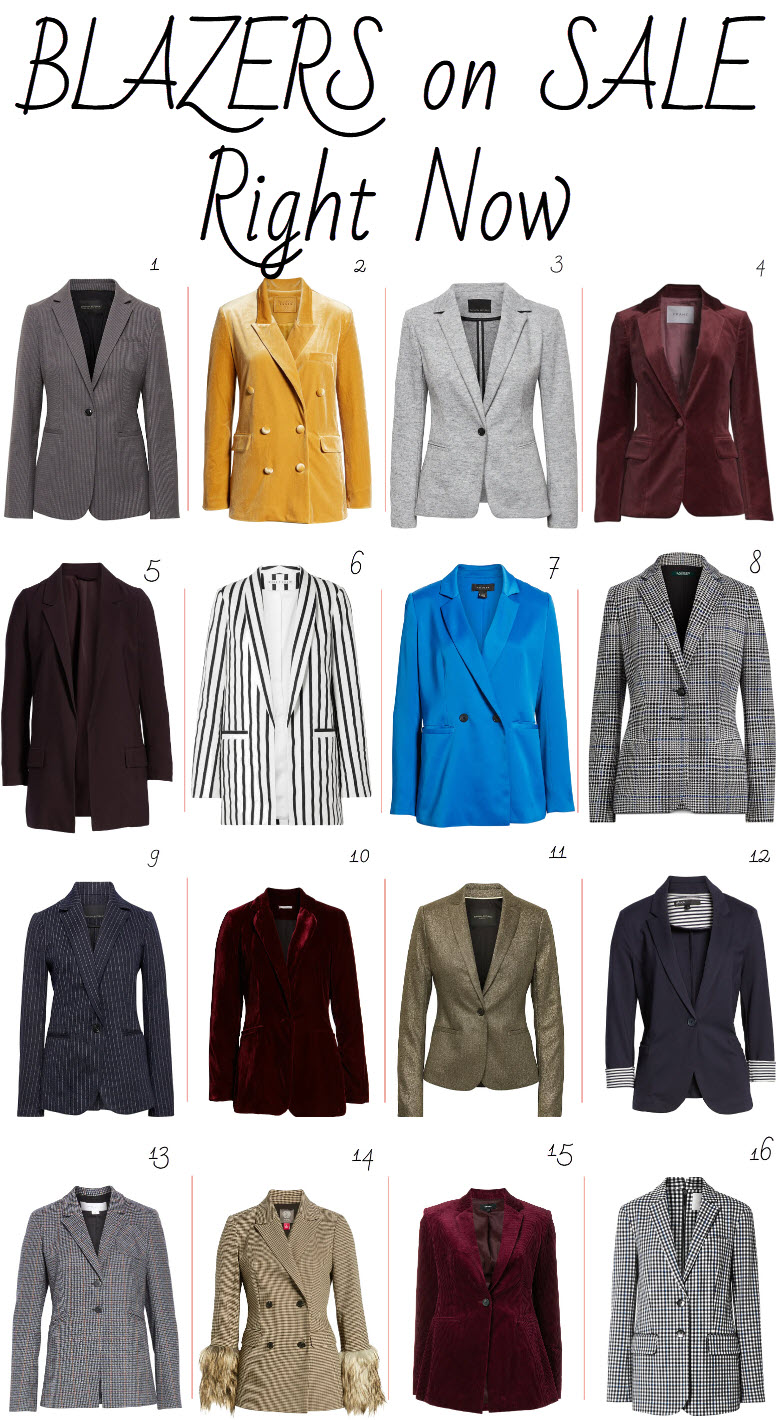 Blazers on Sale 2019. Classic black sports jackets and vibrant, colorful blazers for women in all shapes and sizes. Get these must have items on sale! #fashion #salealert #fashionblog #blazers #jackets #winterfashion