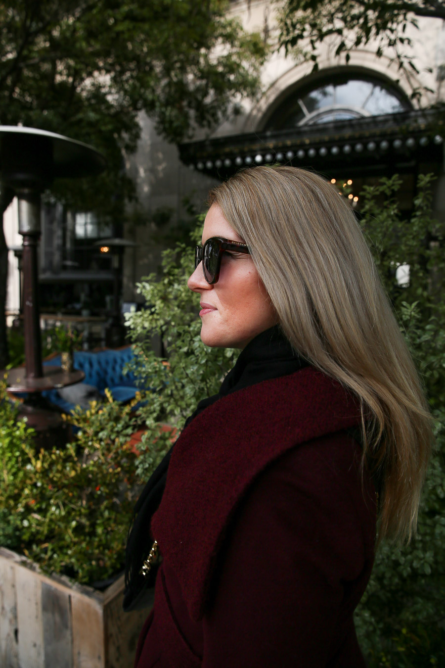 Burgundy Coat Outfit - Second Trimester Fall/Winter Outfit