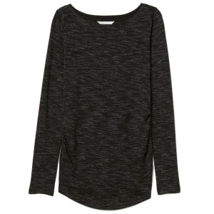 H&M Boat Neck Long Sleeve Tee - Black Mixed