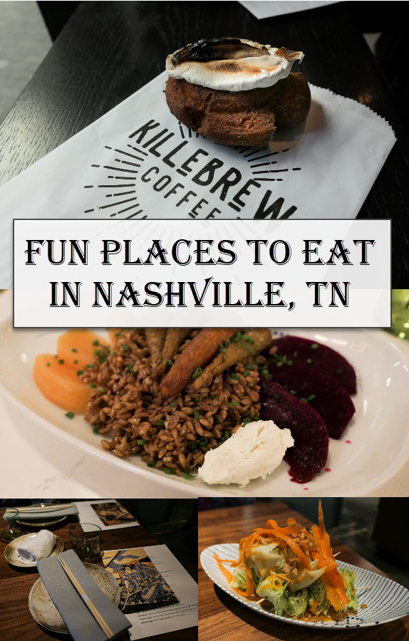 Fun Places to Eat in Nashville Travel Guide. Get dinner and coffee shop recommendation for Music City in downtown Nashville, East Nashville, the Gulch, and Germantown. #lpworldtravels #travelguide #tennessee #nashville #travelblog