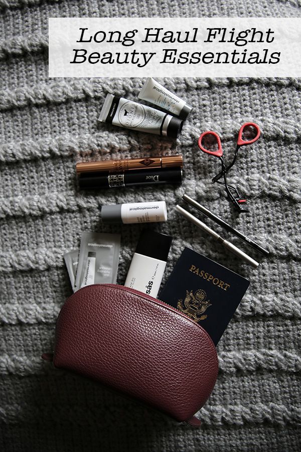 Long Haul Flight Beauty Essentials. Get the travel tips for beauty, skincare, and makeup on long haul, international flgiths. Everything from face masks to makeup routines. #travel 3traveltips #beauty #travelblog