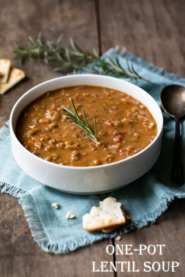 Healthy Vegan Lentil Soup. This delicious One Pot Lentil Soup is a perfect hearty dinner that's full of veggies and plant-based protein. Enjoy it on it's own or with a great slice of bread or grilled cheese. #lmrecipes #lentilsoup #soup #dinnerrecipes #onepot #onepotrecipe