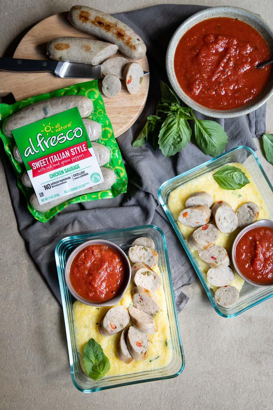 Chicken Sausage and Polenta Meal Prep Idea