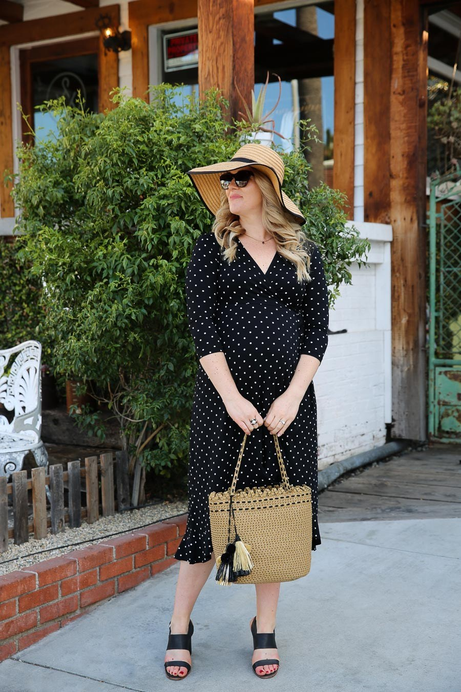Woven Bag with tassels. Wrap Maternity Dress