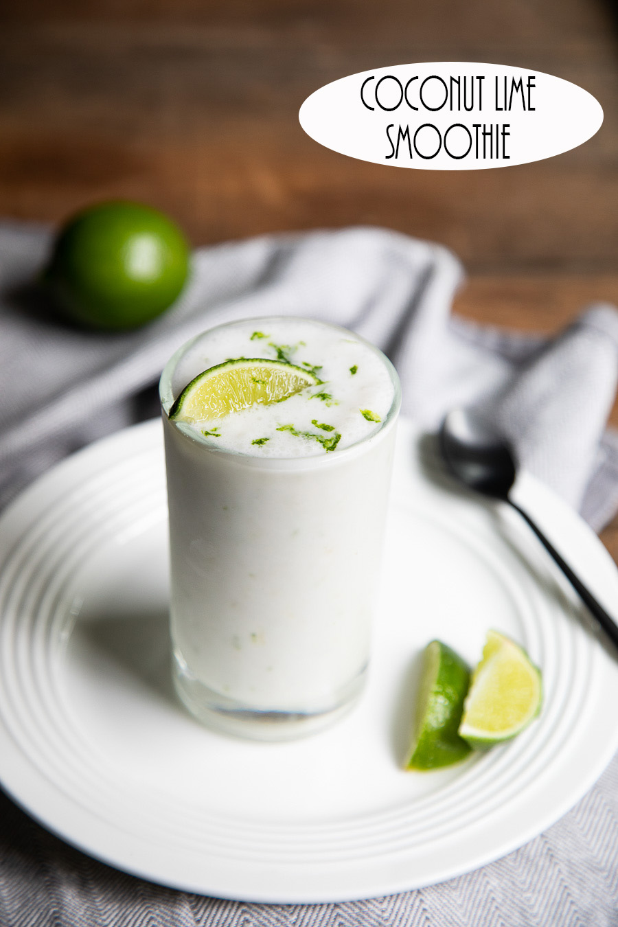 Coconut Lime Smoothie. A delicious summer drink recipe with pineapple sherbet and fresh lime juice and zest. A tasty, frozen dessert recipe. #dessert #smoothie #coconut #lime