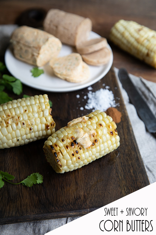 Sweet + Savory Corn Butter Recipes. Delicious bbq ideas for summer. Fresh corn on the cob melted with cinnamon spice butter or cilantro butter. #corn #bbq #grilling #summer #food #recipe