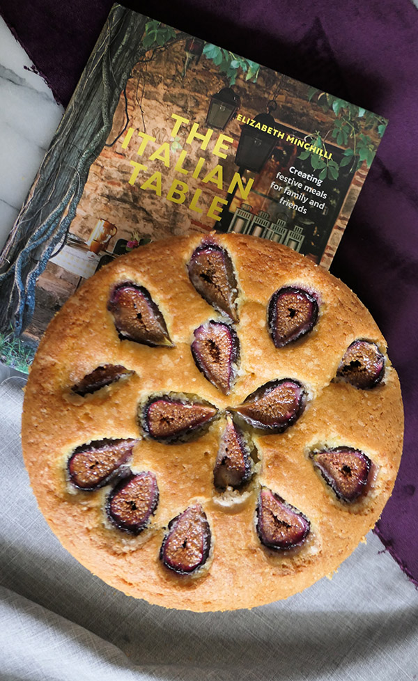 Homemade Fig Cake with fresh figs. This delectable butter cake is topped with fresh fig halves. An easy recipe that lasts a day or two wrapped for enjoyment! A great italian dessert recipe for everyone. #dessert #figs #italian #foodblog