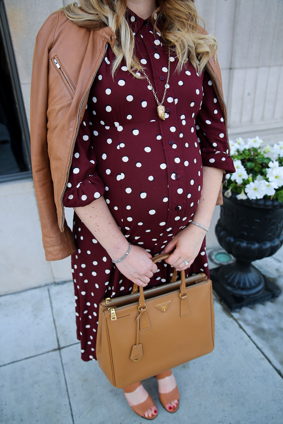 Stylish Maternity Work Clothes with Leather Jacket