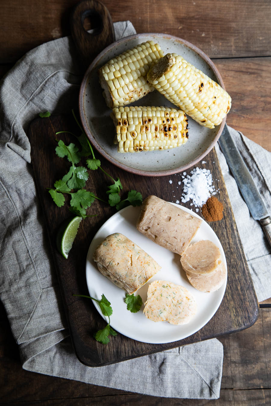 Grilled Corn with compound butter rolls.