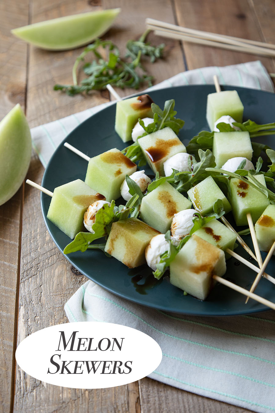 Honeydew Melon Appetizer Skewers. These fruit skewers are great in the summer with fresh melon.