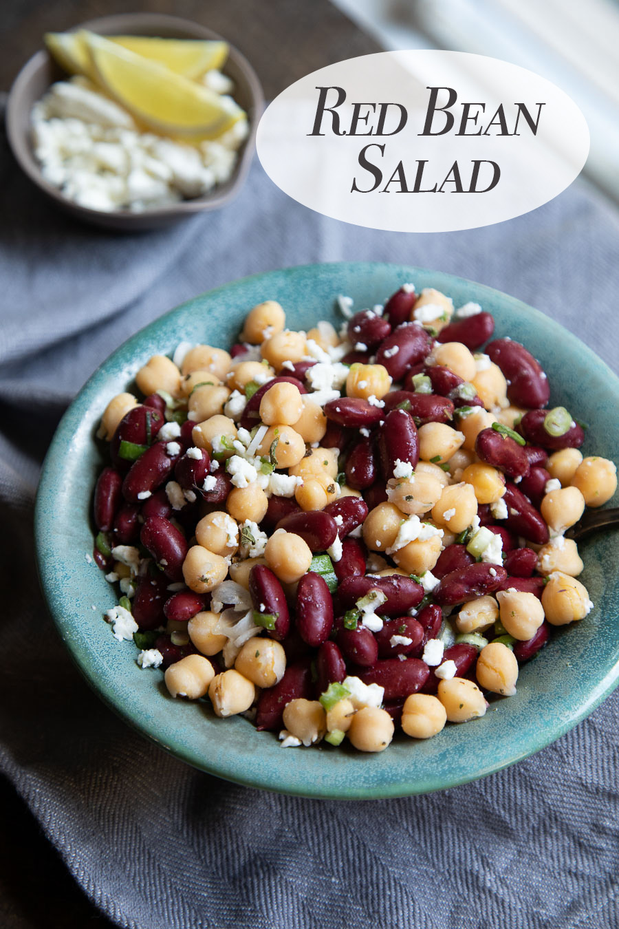 Delicious red bean salad with chickpeas, red beans, and feta cheese. A protein-packed salad that's simple, delicious, and healthy. #lmrecipes #salad #vegetarian