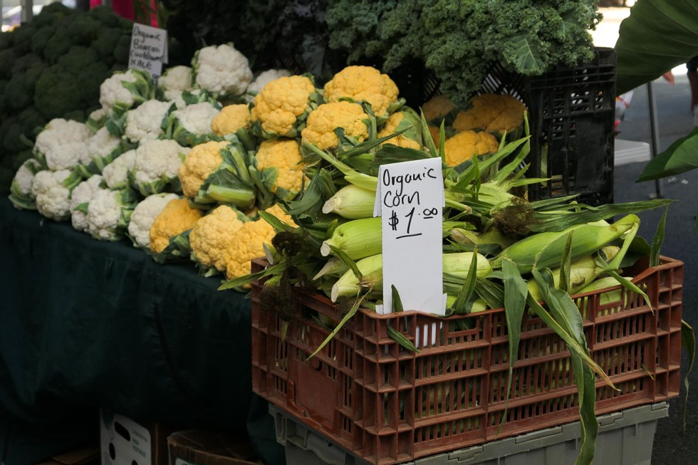 Cauliflower, Corn, and Broccoli at Farmers Market