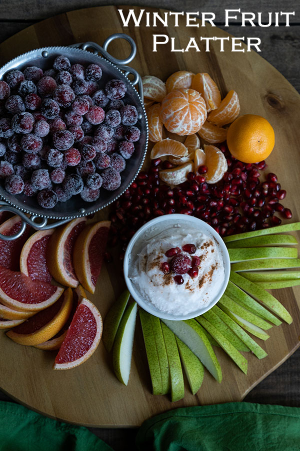 Winter Fruit Platter. A delicious mix of winter citrus, pears, cranberries, and pomegranates make up this tasty, healthy <a href=