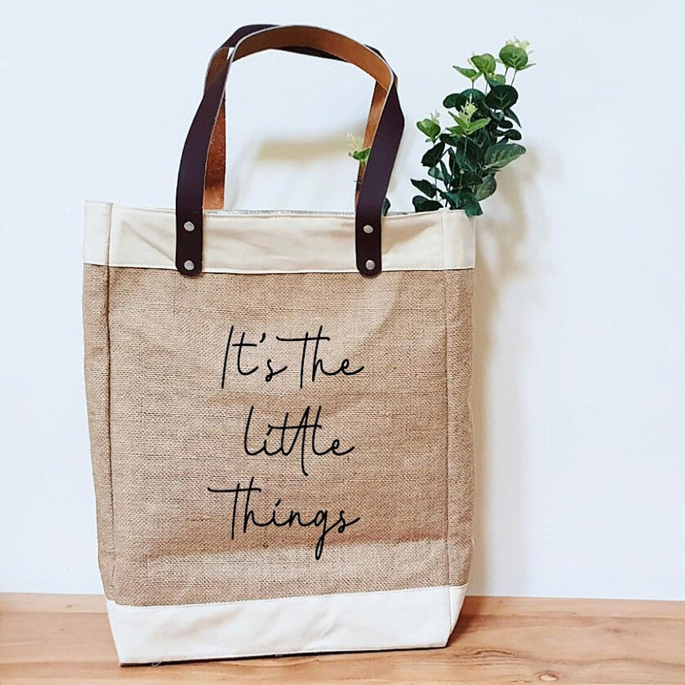 Reusable Market Tote with Customized Writing