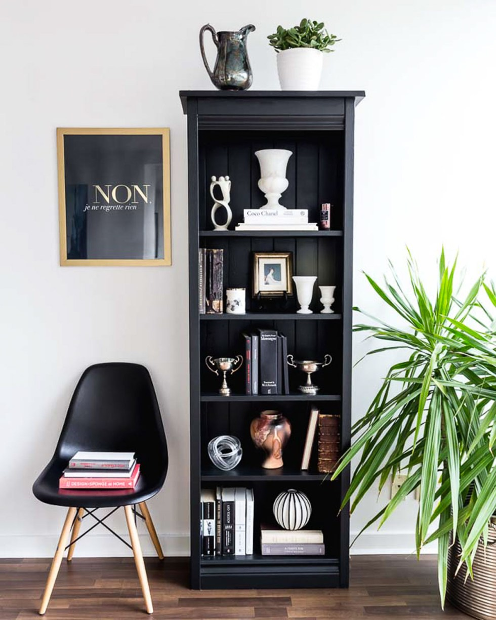 How to Style a Black Bookshelf - Books and Vases on Shelves