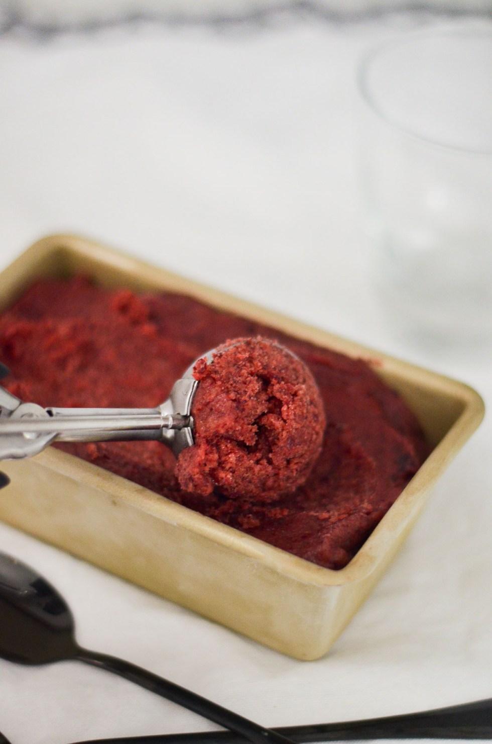 Cherry Sorbet w. Basil Whipped Cream