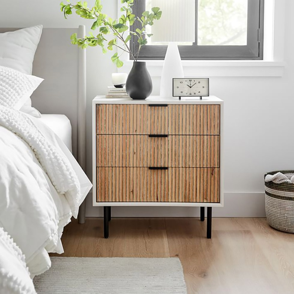 West Elm Wood Nightstand with 3 Drawers
