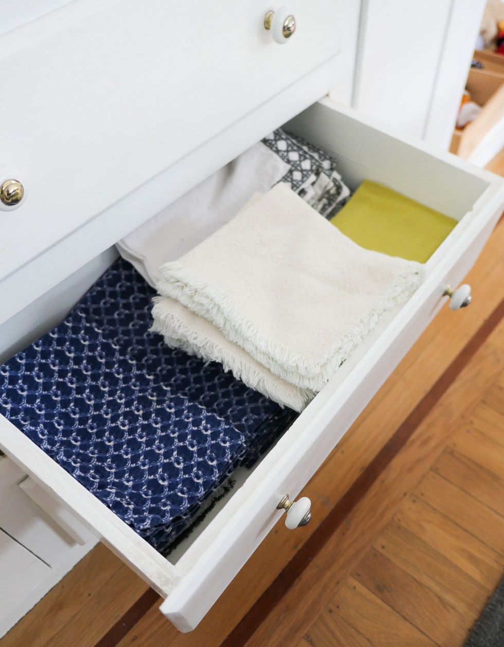 Cloth Napkins in Drawer - How to Stop Using Paper Towels