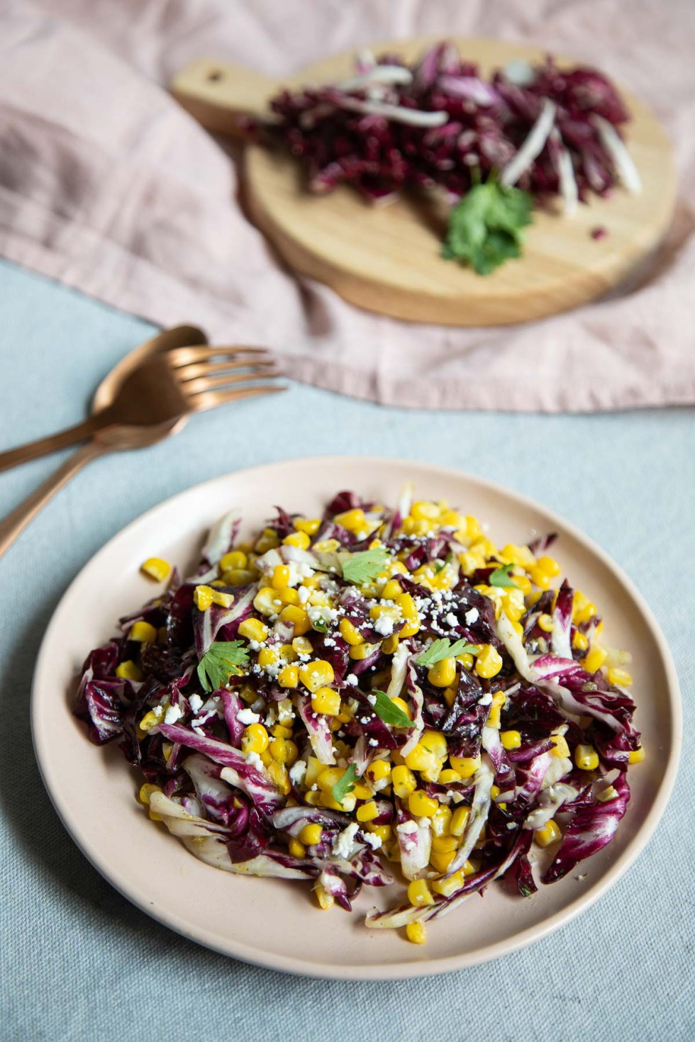 Simple Radicchio Salad w. Fresh Corn on Small Pale Pink Plate