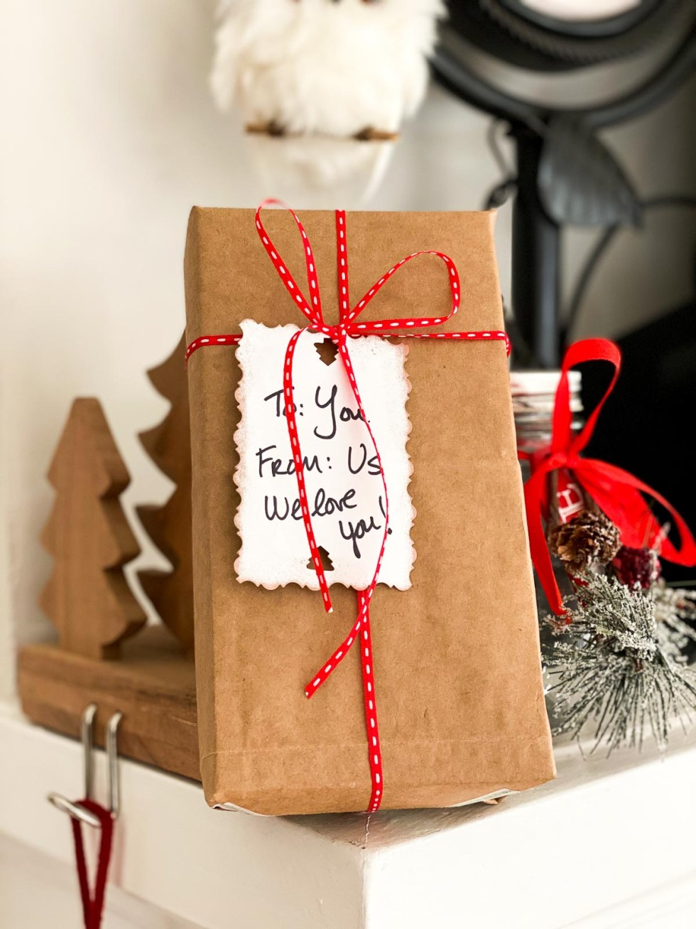 DIY Gift Wrap Ideas - Brown Bag into Wrapping paper