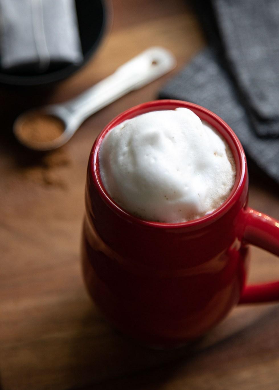 5 Spice Tea Latte in Red Mug w. Foam