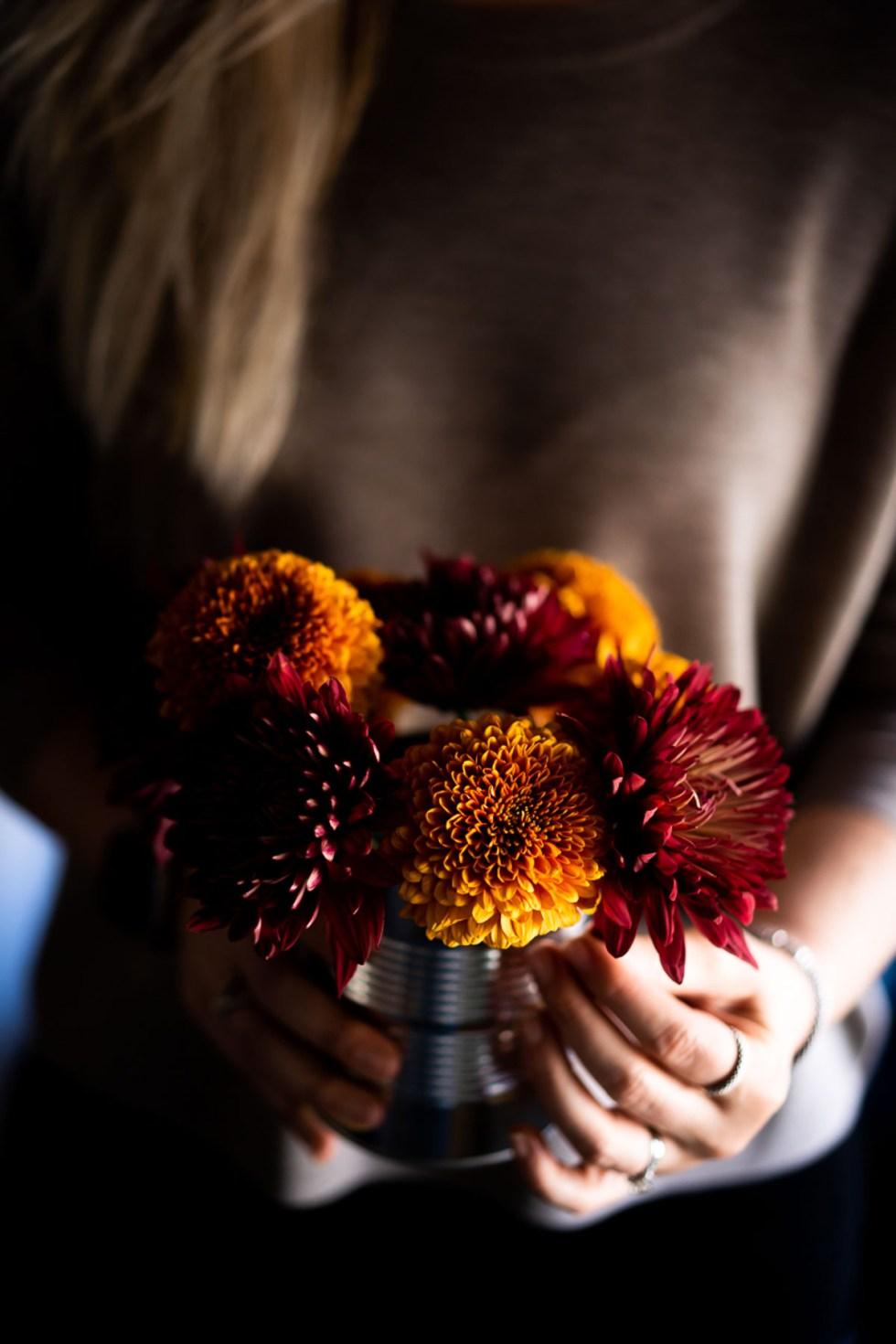 Orange and Red Mum Flowers