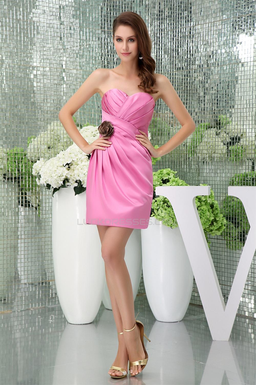 Elegant Satin Criss Cross ShortMini Pink Sweetheart
