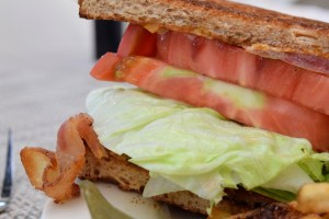 BLT all-natural bacon, iceberg lettuce, heirloom tomatoes and Creole mayonnaise on sliced wheat berry bread